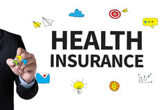 HEALTH INSURANCE. And Businessman drawing Landing Page on white background Royalty Free Stock Image