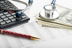 Health insurance. Health care costs. Stethoscope and calculator symbol for health care costs or medical insurance Stock Photos