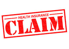 HEALTH INSURANCE CLAIM. Red Rubber Stamp over a white background Royalty Free Stock Photos