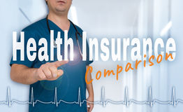 Health insurance comparison Doctor shows on viewer with heart ra Royalty Free Stock Image