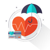 Health insurance concept – Health care info graphics elements in flat style icons such as heart, umbrella, insurance card. Royalty Free Stock Image