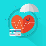 Health insurance concept – Health care info graphics elements in flat style icons such as heart, umbrella, insurance card. Stock Photo