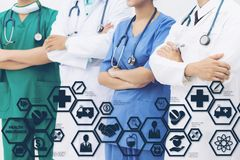 Doctor with Health Insurance Modern Interface Icon. Health Insurance Concept - Doctor in hospital with health insurance related icons in modern graphic interface Stock Photography
