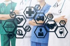 Doctor with Health Insurance Modern Interface Icon. Health Insurance Concept - Doctor in hospital with health insurance related icons in modern graphic interface Royalty Free Stock Image