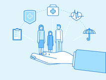 Health insurance concept - illustration and infographics design. Vector illustration and infographics design elements in modern flat linear style - health Royalty Free Stock Images
