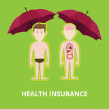 Health insurance concept illustration with two naked bodies protected by red umbrella Royalty Free Stock Images