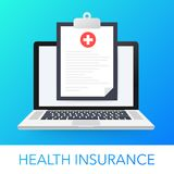 Health insurance concept. Laptop with medical clipboard. Vector illustration vector illustration