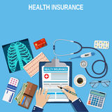 Health insurance concept. Man fills in the form of health insurance. Healthcare concept. Vector illustration flat design. Medical equipment, money, Stethoscope Royalty Free Stock Image