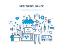 Health insurance concept. Medical care, healthcare and medical insurance, protect. Royalty Free Stock Images