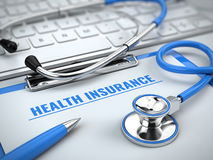 Health insurance concept - stethoscope on laptop keyboard with clipboard and pen Stock Photography