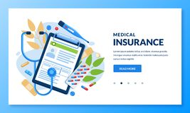 Health insurance concept. Vector medical care illustration. Landing page banner design for medicine, healthcare themes royalty free illustration