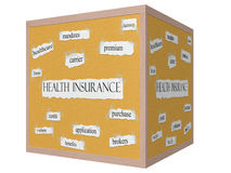 Health Insurance on a 3D Cube Corkboard Word Concept Stock Images