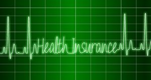 Health insurance ECG. A green ECG monitor spelling words health insurance Royalty Free Stock Images