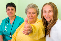 Health insurance. Elderly women with her carer and doctor royalty free stock image