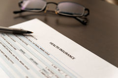 Health insurance form close up Stock Images