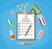 Health insurance form. Filling medical documents. Health insurance form with pen. Filling medical documents. Syringe, drugs, money. vector illustration in flat Royalty Free Stock Images