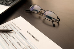 Health insurance form Stock Photography