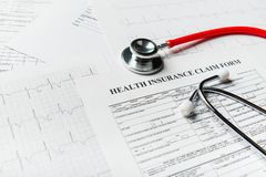 Health insurance form with stethoscope concept. For life planning royalty free stock photography