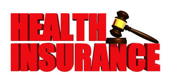 Health Insurance with Gavel Stock Photo