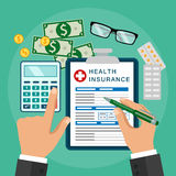 Health insurance. Healthcare concept. Vector image. Flat design.Clipboard in hand. Man with clipboard. Health insurance. Healthcare concept. Calculation Stock Images