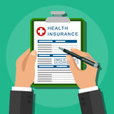 Health insurance. Healthcare concept. Vector image. Flat design.Clipboard in hand. Man with clipboard. Health insurance. Healthcare concept. Calculation Royalty Free Stock Photo