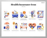 Health insurance icons flat pack. Health insurance vector illustration in flat color design vector illustration