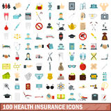 100 health insurance icons set, flat style Stock Images