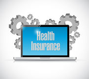 Health Insurance laptop computer sign concept Stock Photography
