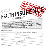 Health insurance with red rejected rubber stamp Stock Photo