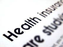 Health insurance text Royalty Free Stock Image