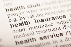 Health insurance - text in dictionary Royalty Free Stock Photography