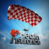Health insurance text landing with a parachute. 3D illustration stock illustration
