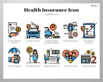 Health insurance icons LineColor pack. Health insurance vector illustration in line color design stock illustration