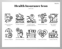 Health insurance icons Line pack. Health insurance vector illustration in line stroke design vector illustration