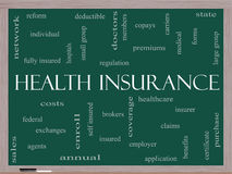 Health Insurance Word Cloud Concept on a Blackboard Stock Photography