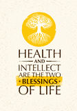 Health And Intellect Are The Two Blessings Of Life. Inspiring Creative Motivation Quote With Old Tree Icon. Vector Typography Banner Design Concept Royalty Free Stock Photos