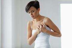 Health Issues. Beautiful Woman Feeling Strong Pain In Chest Stock Photos