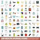 100 health journal icons set, flat style. 100 health journal icons set in flat style for any design vector illustration Vector Illustration