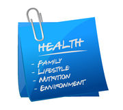 Health key essentials memo post Stock Images