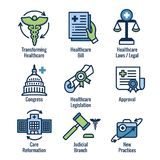 Health Laws and Legal icon set depicting various aspects of the legal system. Health Laws and Legal icon set | various aspects of the legal system