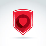 Health and life defending conceptual symbol, vector. Icon with shield and heart Stock Photos