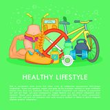 Health life items, concept, cartoon style Royalty Free Stock Image