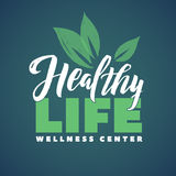 Health Life Wellness Center Vector Logo. Stroke Green Leaves Illustration. Brand Lettering. Health Life Wellness Center Vector Logo. Stroke Green Leaves stock illustration