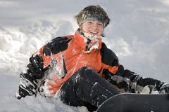 A health lifestyle image of snowboarder Stock Photo