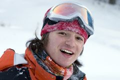 A health lifestyle image of young snowboarder royalty free stock photos