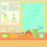 Health lifestyle items concept, cartoon style Stock Photography