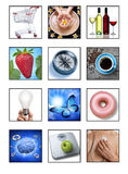 Health Lifestyle Icon Montage. A montage of medical, health and lifestyle images on a white background. All these images are available separately in my portfolio Royalty Free Stock Photography