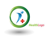 Health logo. A clean fresh health logo in green, blue and red on a white background Stock Photography