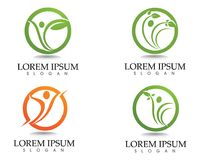 Health logo template and symbols leaf green.  Royalty Free Stock Photos