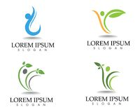Health logo template and symbols leaf green.  Royalty Free Stock Photography